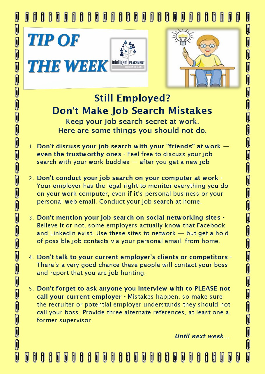 intelligent placement still employed don t make job search mistakes don t make job search mistakes